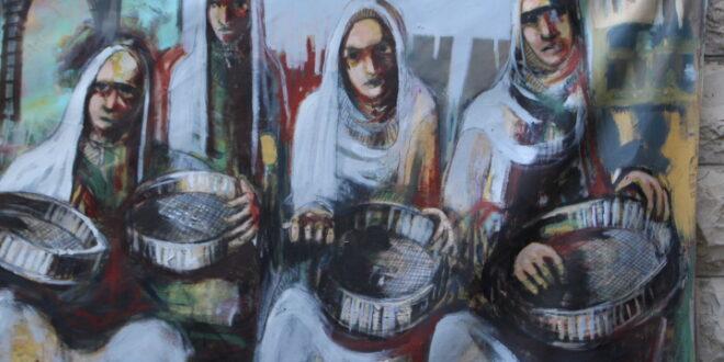 بعض اللوحات الفنية المعروضة برابطة الفنانين  التشكيلين  الأردنيين
